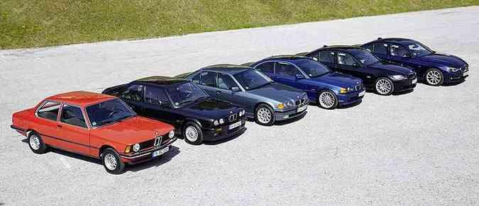 Lado a lado, seis gerações da Série 3, modelo de maior sucesso da BMW(foto: BMW/Divulgação)