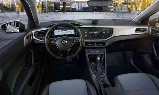 Com interior minimalista, Virtus só se destaca quando equipado com o painel de instrumento digital e a central multimídia com tela de 8 polegadas(foto: Volkswagen/Divulgação)