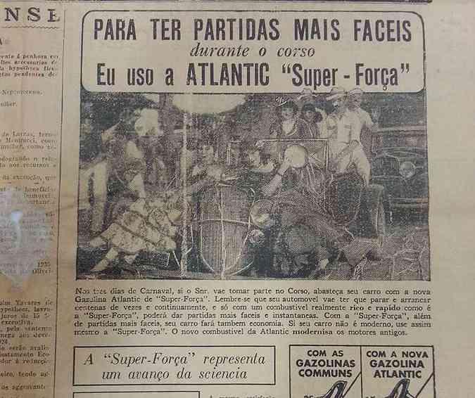 Anúncio do jornal Estado de Minas em 1935 explorava o corso