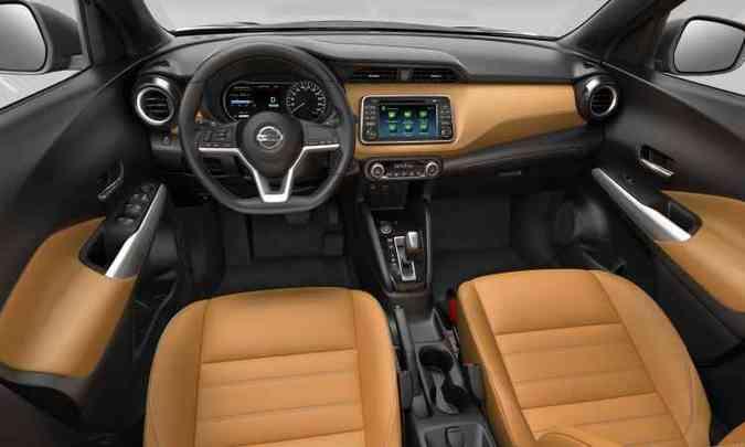 Interior tem bom espaço e acabamento com três opções de revestimento em couro(foto: Nissan/Divulgação)