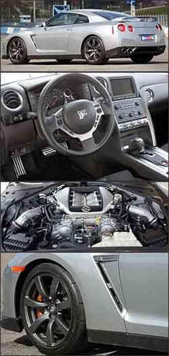 Aerofólio traseiro condiz com o espírito esportivo do Nissan, equipado com rodas aro 20 e pneus de perfil muito baixo. Comandos na telinha mandaram computador de bordo para o museu.Motor V6 biturbo faz GT-R voar baixo. Entradas de ar realçam esportividade