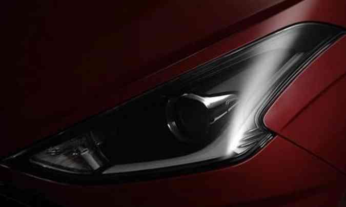 O farol com fundo escurecido tem novo formato e único projetor, além de light guide em LED(foto: Hyundai/Divulgação)