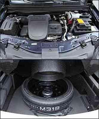Motor 2.4 Ecotec tem 171 cv de potência. Já o estepe fica dentro do porta-malas