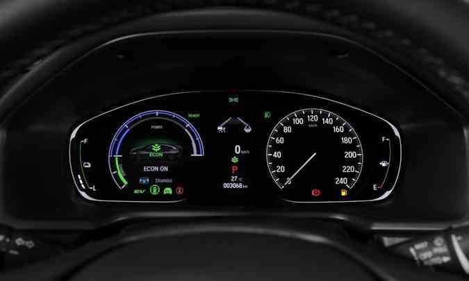 No painel de instrumentos o motorista visualiza informações sobre o funcionamento do sistema híbrido(foto: Honda/Divulgação)