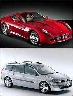 Ferrari F599 será um dos destaques da marca do cavalinho rampante. Já a versão perua do Mégane vai ser apresentada no Anhembi: apesar de ainda não ser o lançamento, será uma das principais atrações entre os fabricantes nacionais - Ferrari/Divulgação - Renault/Divulgação