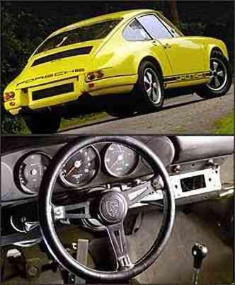 Lanternas traseiras são exclusivas, assim como a incrição Porsche: janelas laterais e vigia são em acrílico para reduzir peso. O acabamento interno foi simplificado e o rádio foi retirado do modelo de competição