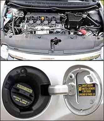 Motor ficou 2 cv mais fraco com gasolina. Assim como no Fit, o reservatório do sistema de partida a frio fica no lado direito do pára-lamas