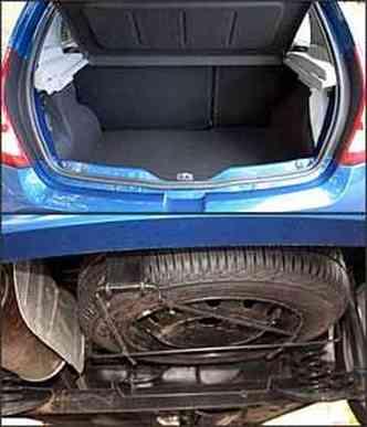 Porta-malas tem capacidade compatível com a proposta do carro. Já o estepe fica sob o porta-malas(foto: Marlos Ney Vidal/EM - 18/12/07 )