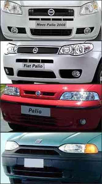 Dianteira de todas as gerações do Palio: de baixo para cima, primeira geração até a geração quatro(foto: Fiat/Divulgação)