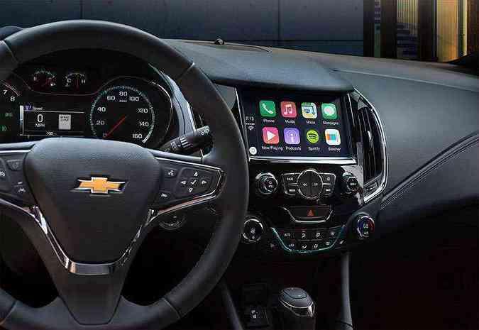 Cruze 2016 tem a nova geração do MyLink, com Apple CarPlay e Android Auto(foto: Chevrolet/Divulgação)
