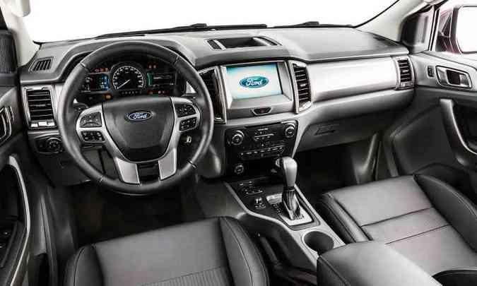 Painel mudou por completo e acrescenta dois itens à Limited: quadro de instrumentos configurável e sistema Sync com tela de 8 polegadas(foto: Ford/Divulgação)
