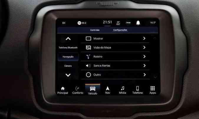 Por meio do aplicativo, o usuário pode ativar alertas de segurança e outros recursos(foto: Jeep/Divulgação)