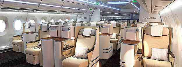 Airbus A350-900 possui maior largura na cabine - Airbus/Divulgação