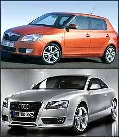 Skoda Fabia e Audi A5 - Skoda/Divulgação - Audi/Divulgação