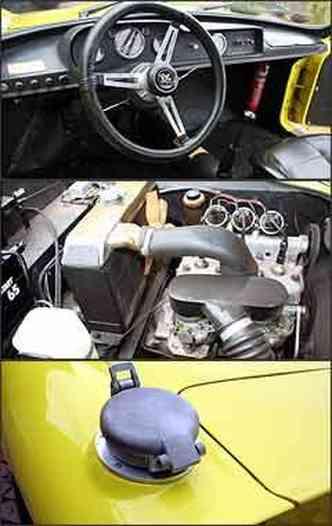 Painel simples, sem velocímetro, mas com instrumentos necessários. Motor é um três cilindros de 1.000 cm³, que desenvolve 100 cv de potência; na traseira se destaca a tampa de abastecimento rápido do tanque de combustível