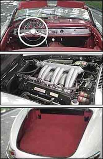 Roadster alemão tem painel, volante e alavanca de marchas bem posicionados. Motor de 215cv de potência foi o primeiro do mundo com injeção direta de combustível. Compartimento de bagagem não cabe mais do que duas malas não muito grandes