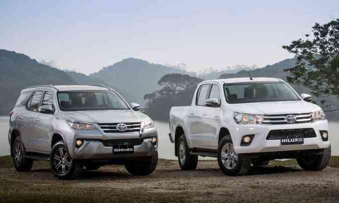 Toyota SW4 e Hilux flex(foto: Malagrine/Toyota/Divulgação)